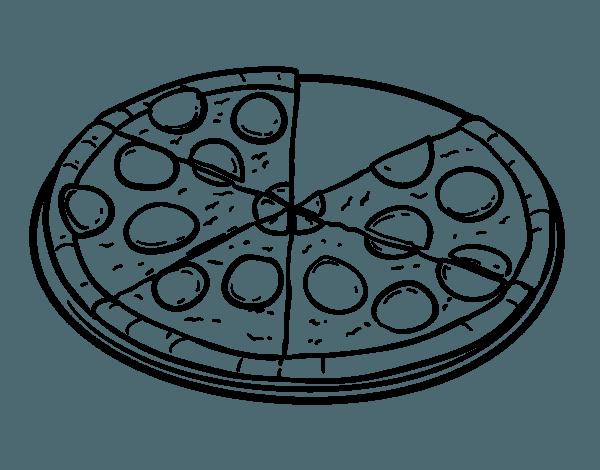 Dibujo De Pizza De Pepperoni Para Colorear