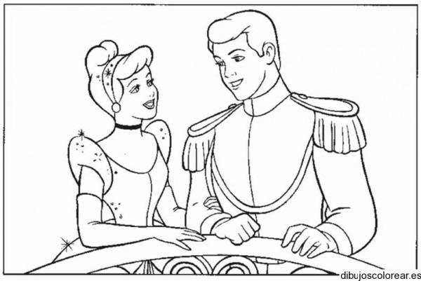 Dibujo De Cenicienta Con Su Príncipe