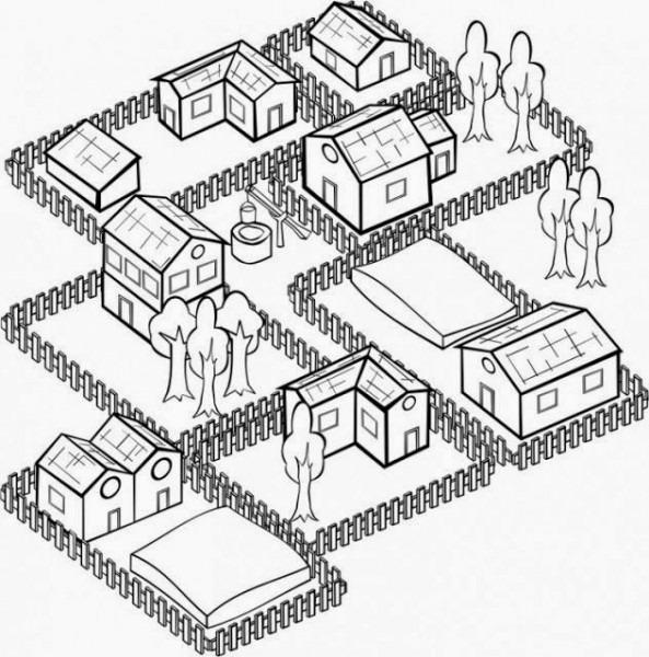 Dibujo De Un Barrio Para Colorear