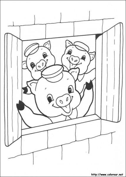 Dibujos De Los Tres Cochinitos Para Colorear En Colorear Net