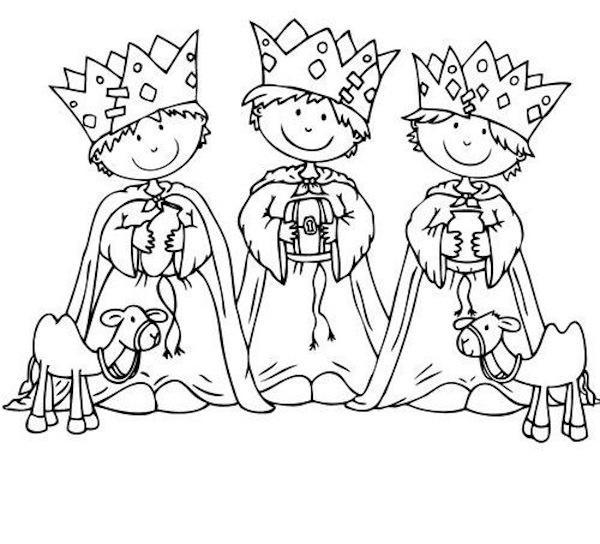 Dibujo Para Colorear Tres Reyes Magos Niños