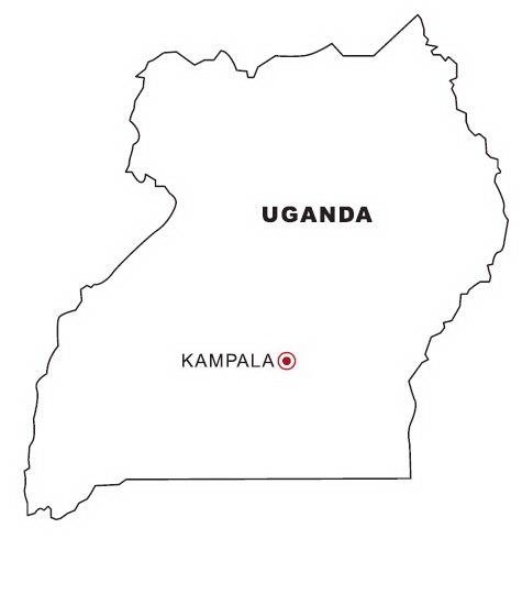 Mapa Y Bandera De Uganda Para Dibujar Pintar Colorear Imprimir
