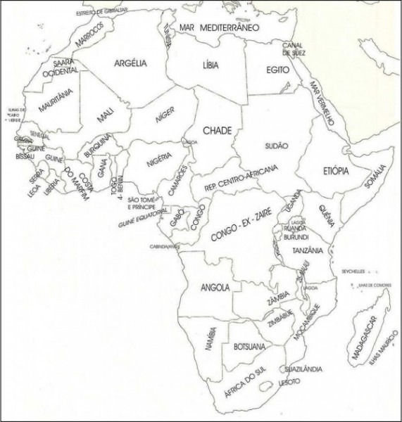 Dibujos De Mapas De Africa Y Paises Para Colorear