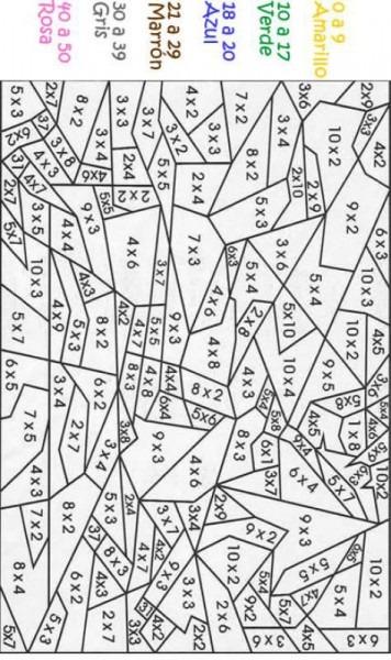 Dibujos Para Colorear Con Multiplicaciones