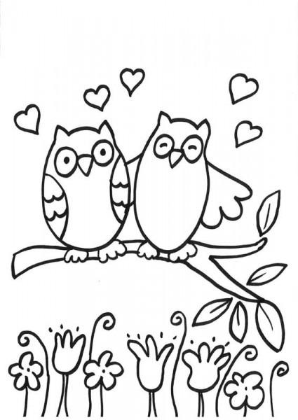 Búhos Enamorados  Dibujo Para Colorear E Imprimir
