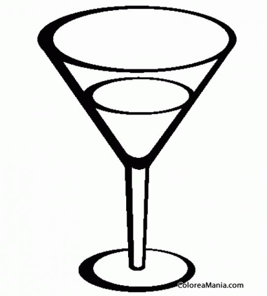 Colorear Copa Martini (bebidas), Dibujo Para Colorear Gratis