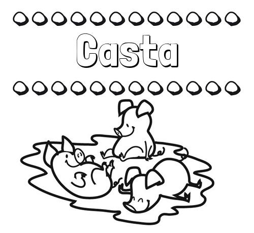 Nombre Casta  Dibujos Para Colorear  Nombres Y Los Tres Cerditos