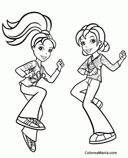 Colorear Polly Bailando Con Una Amiga (polly Pocket), Dibujo Para