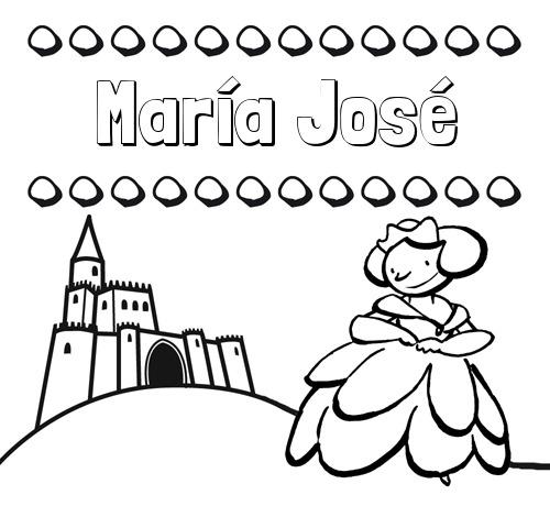 Nombre María José  Dibujos Para Colorear Su Nombre Y Una Princesa