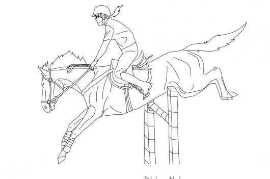 Dibujo De Equitacion Para Pintar Y Colorear Caballo Saltando Una