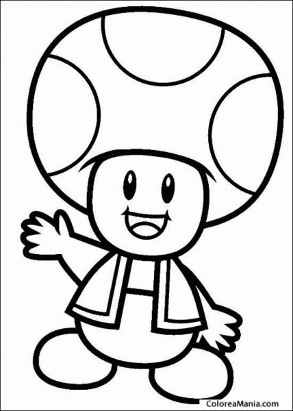 Colorear Toad, Del Reino Champiñón (super Mario Bross), Dibujo