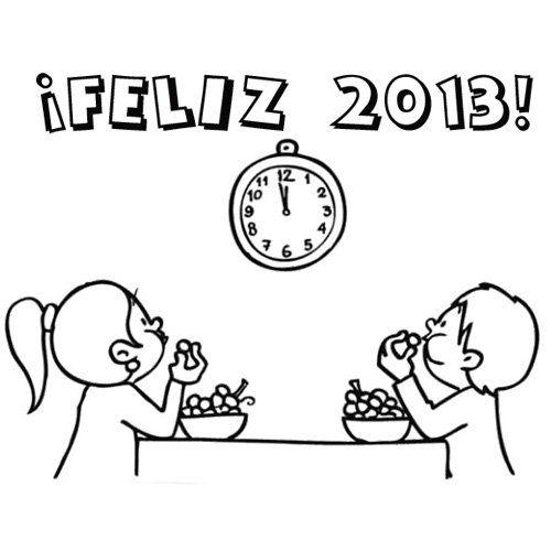 Felicitaciones De Año Nuevo Para Imprimir Y Colorear