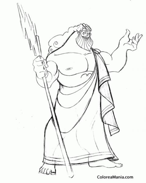 Colorear Zeus Del Olimpo 2 (mitología Griega), Dibujo Para