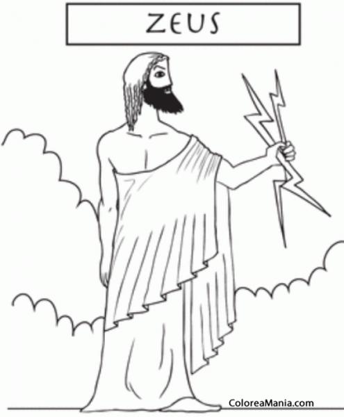 Colorear Zeus Del Olimpo 3 (mitología Griega), Dibujo Para