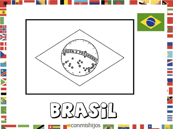 Bandera De Brasil  Dibujos De Banderas Para Pintar