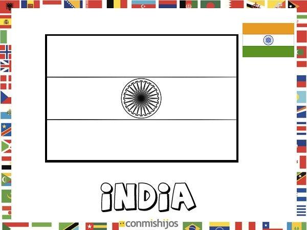Bandera De India  Dibujos De Banderas Para Pintar