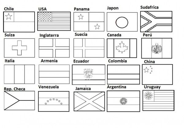 Banderas Para Colorear E Imprimir