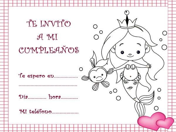 Invitaciones De Cumpleaños Con Un Dibujo De Una Sirena Princesa