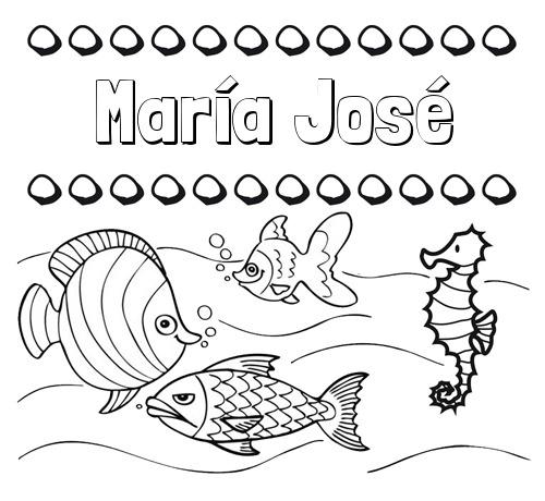 Nombre María José  Peces  Dibujos De Nombres Para Pintar