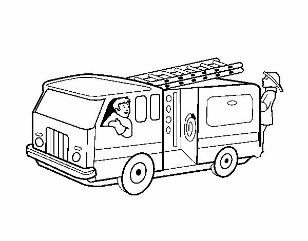 Dibujo De Bomberos En El Camión Pintado Por En Dibujos Net El Día