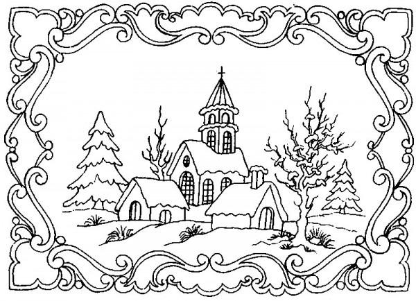 Dibujo Para Colorear Relajante Invierno   Paisaje De Invierno 5