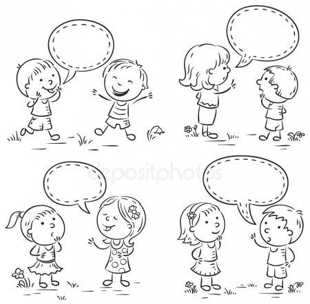 Vectores De Stock De Dibujo Niños Hablando, Ilustraciones De