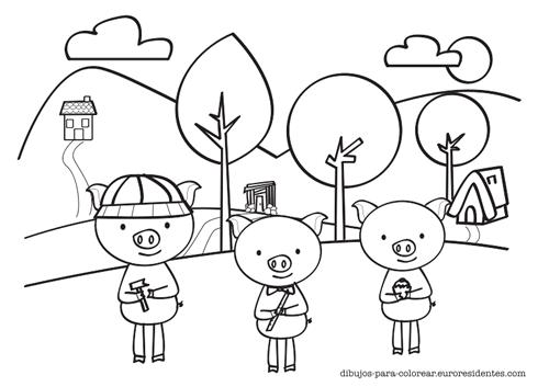 Dibujo De Los 3 Cerditos Para Colorear