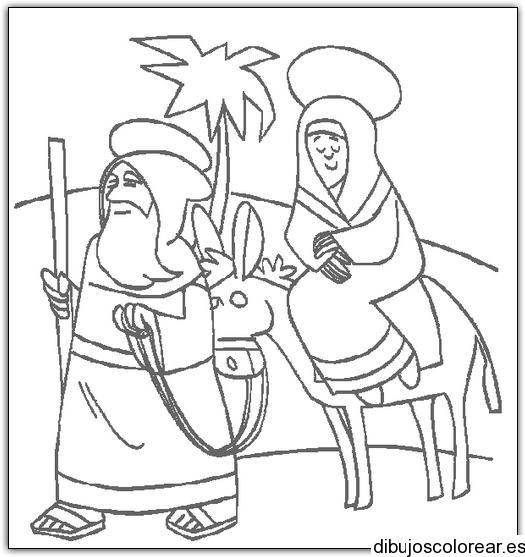 Dibujo De María Y José Camino A Belén