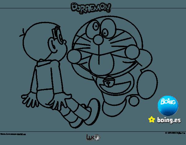 Dibujo De Doraemon Y Nobita Para Colorear