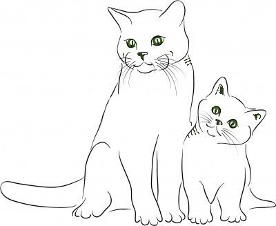 Gatos En Familia Para Colorear
