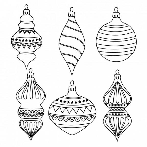 Esquema Dibujado A Mano Colección De Bolas De Navidad Para