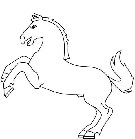 Dibujo De Caricatura De Un Caballo Saltando Para Colorear