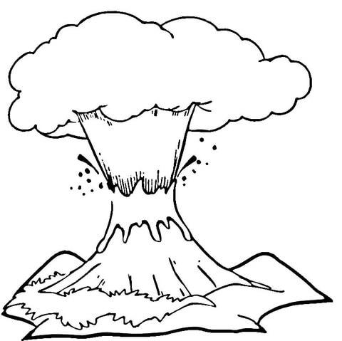 Dibujo De Volcán En Erupción Para Colorear