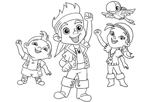 Dibujo De Jake, Izzy, Cubby Y Skully Festejan Juntos Para Colorear