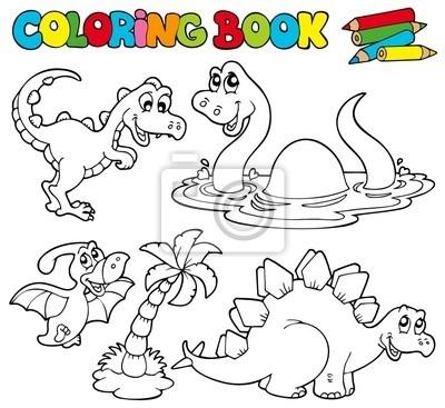 Libro Para Colorear Con Los Dinosaurios 1 Pinturas Para La Pared