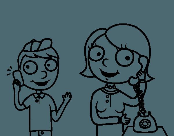 Dibujo Dos Personas Dialogando