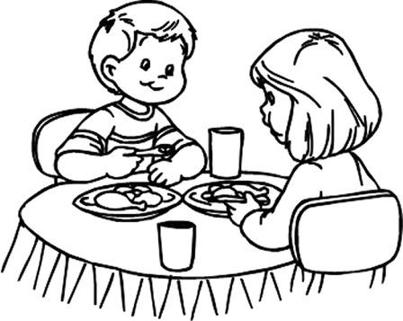 Cuentosdedoncoco Com  NiÑos Comiendo Para Colorear
