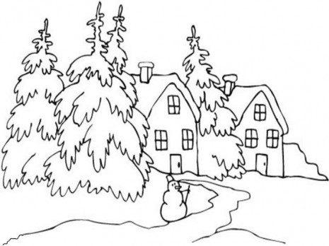 Dibujos De Paisajes Invernales Para Colorear