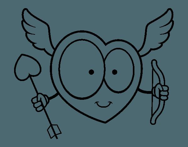 Dibujo De Corazón Cupido Para Colorear