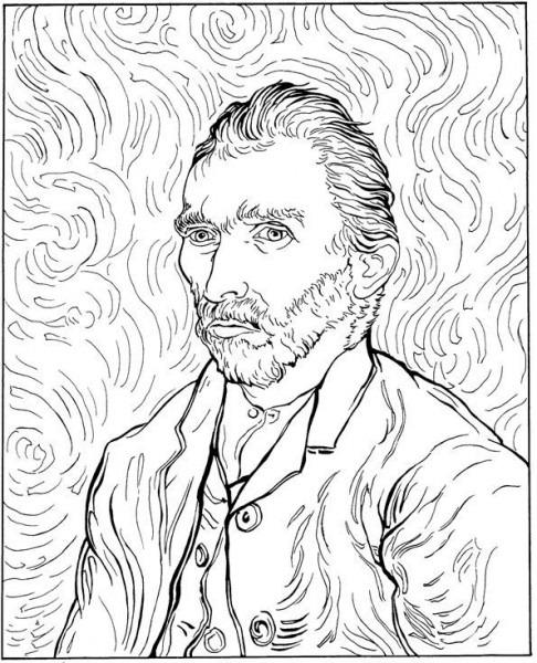 Autorretrato De Van Gogh Para Pintar Y Colorear