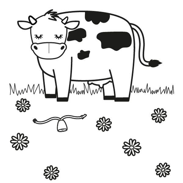 Vaca En Un Prado  Dibujo Para Colorear E Imprimir