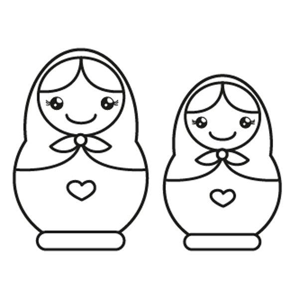 Muñecas Rusas  Dibujo Para Colorear E Imprimir
