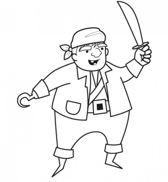 Pirata Con Espada  Dibujo Para Colorear E Imprimir