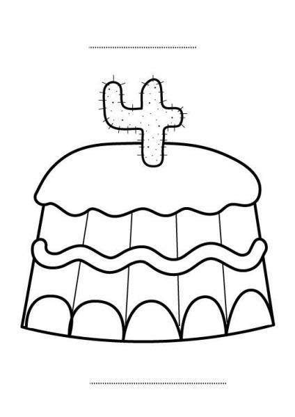 Tarta De Cumpleaños 4 Años  Dibujo Para Colorear E Imprimir