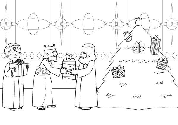 Árbol De Navidad Y Reyes Magos  Dibujo Para Colorear E Imprimir