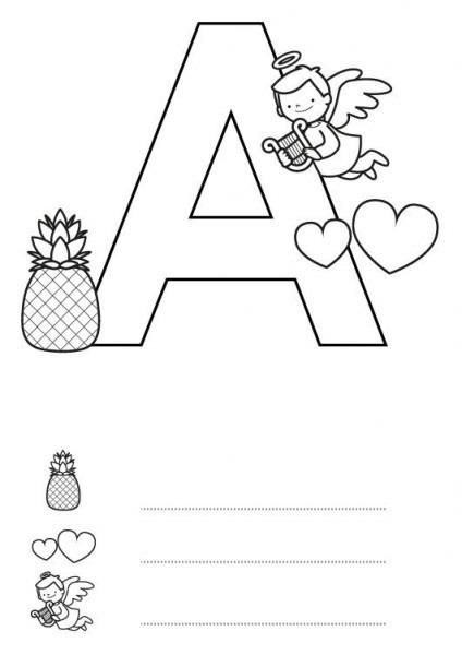 Letra A  Dibujo Para Colorear E Imprimir