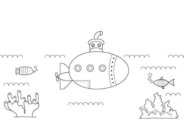 Submarino Bajo El Agua  Dibujo Para Colorear E Imprimir