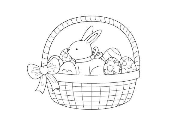 Cesta De Pascua  Dibujo Para Colorear E Imprimir