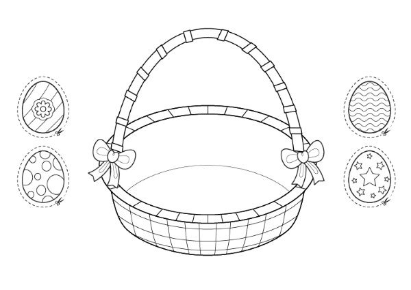 Cesta Y Huevos De Pascua  Dibujo Para Colorear E Imprimir