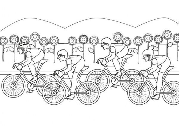 Carrera Ciclista  Dibujo Para Colorear E Imprimir